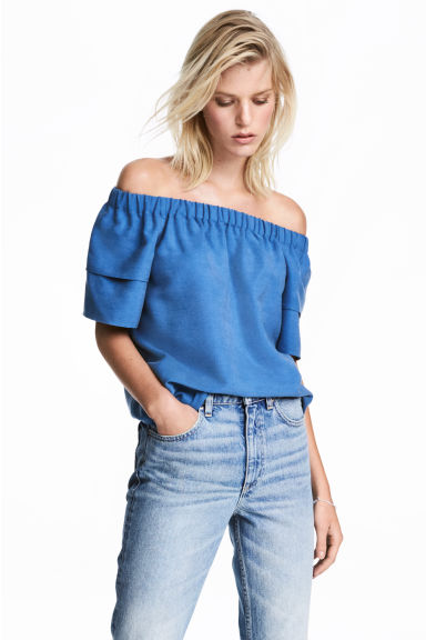 Off-the-shoulder blouse - Blue -  | H&M CN