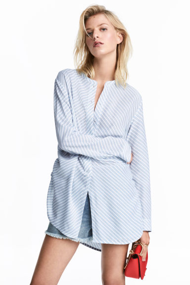 Drawstring blouse - Light blue/Striped -  | H&M