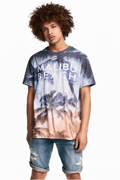 Patterned T-shirt - Light blue/Palms - Men | H&M