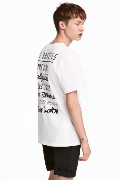 Printed T-shirt - White/Skull -  | H&M