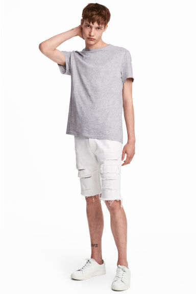 Denim shorts - White denim - Men | H&M GB