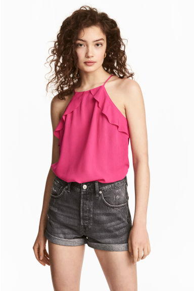 Frilled strappy top - Cerise - Ladies | H&M CN