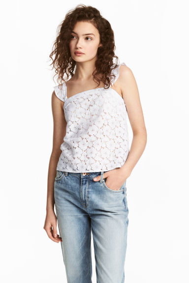 Lace top - White - Ladies | H&M CN