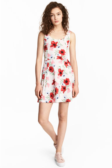Jersey dress - Natural white/Floral -  | H&M CN