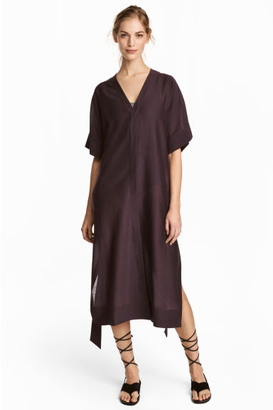 Silk-blend kaftan - Plum - Ladies | H&M CN