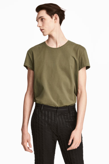Cotton T-shirt - Khaki green - Men | H&M CN