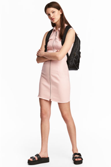 Fitted twill dress - Powder pink -  | H&M CN