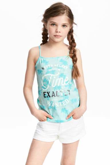 Printed strappy jersey top - Mint green/Palms -  | H&M