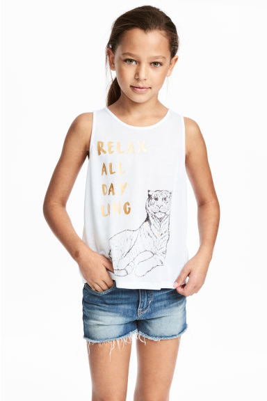 Wrapover vest top - White/Tiger - Kids | H&M CN