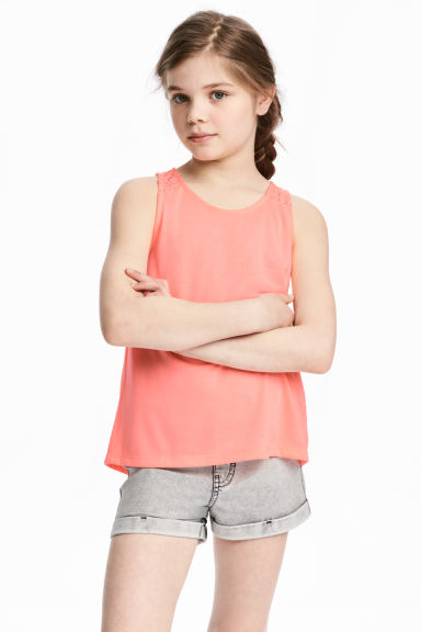 Wrapover vest top - Coral pink - Kids | H&M CN
