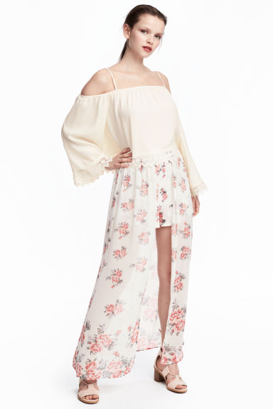 Shorts with a long skirt - Natural white/Floral -  | H&M