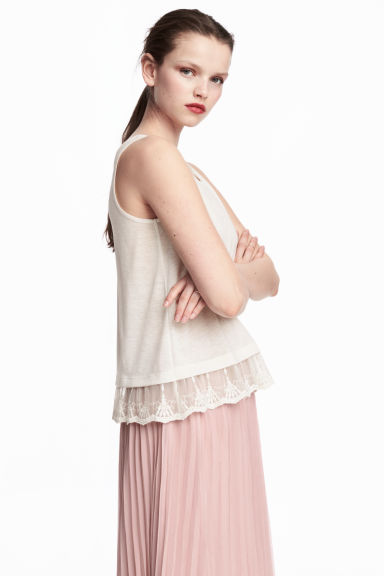 Lace-trimmed vest top - White -  | H&M