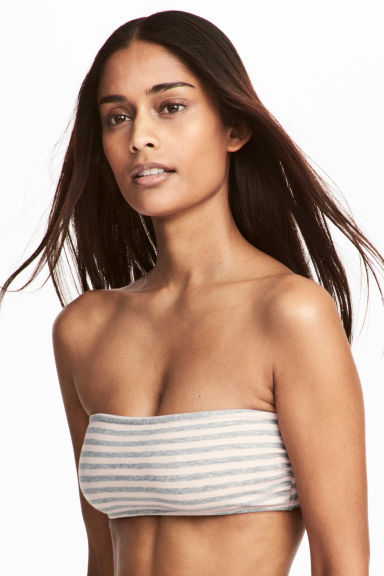 2-pack cotton-mix bandeau bras - Grey/Striped -  | H&M