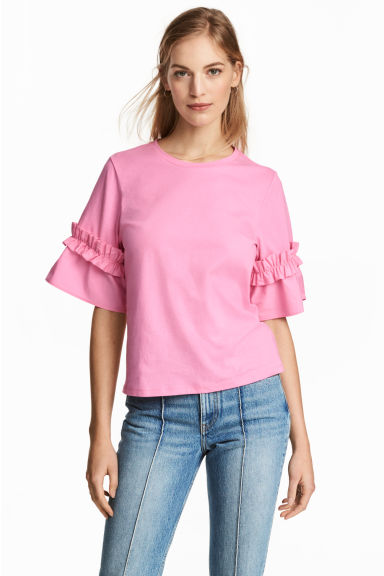Top with flounced sleeves - Pink - Ladies | H&M CN
