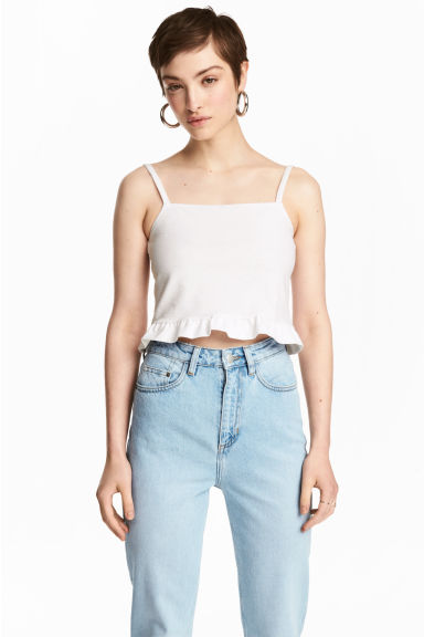 Top corto a volant - Bianco -  | H&M IT