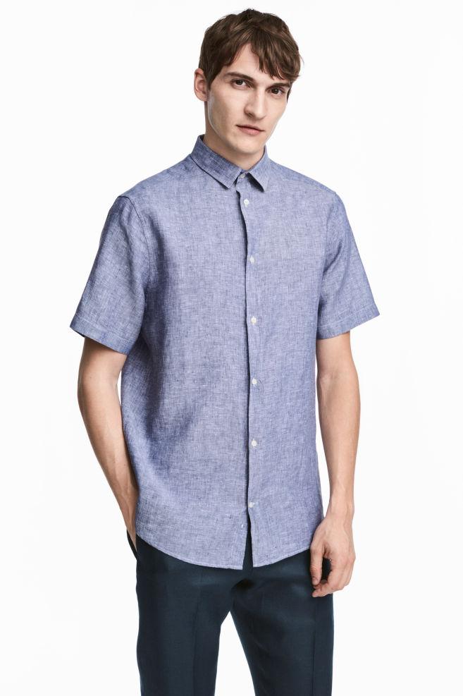 Overhemd Donkerblauw.Linnen Overhemd Donkerblauw Gemeleerd Heren H M Nl