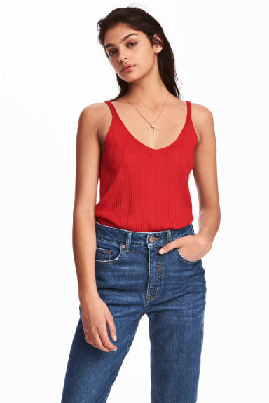 Ribbed strappy top - Red - Ladies | H&M CN