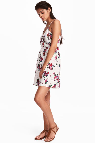Tie-detail dress - Natural white/Floral -  | H&M