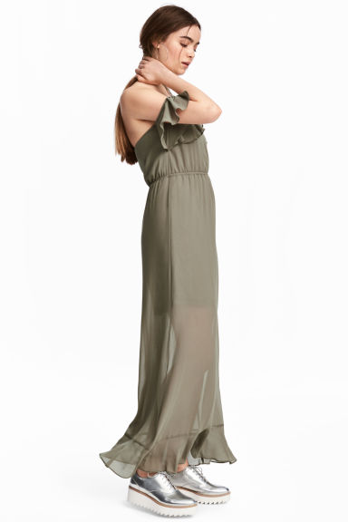 Long chiffon dress - Khaki green -  | H&M CN