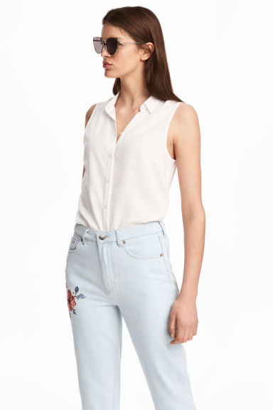 Sleeveless blouse - White - Ladies | H&M CN