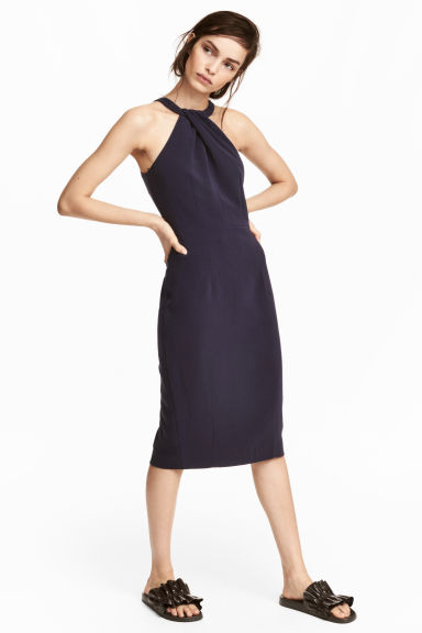 Fitted dress - Dark blue -  | H&M CN