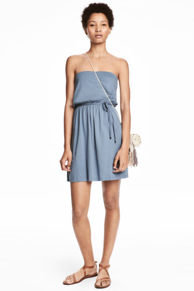 Strapless jersey dress - Grey-blue - Ladies | H&M