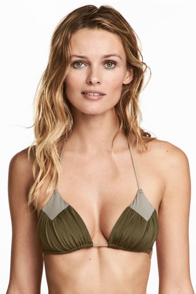 Triangle bikini top - Khaki green - Ladies | H&M