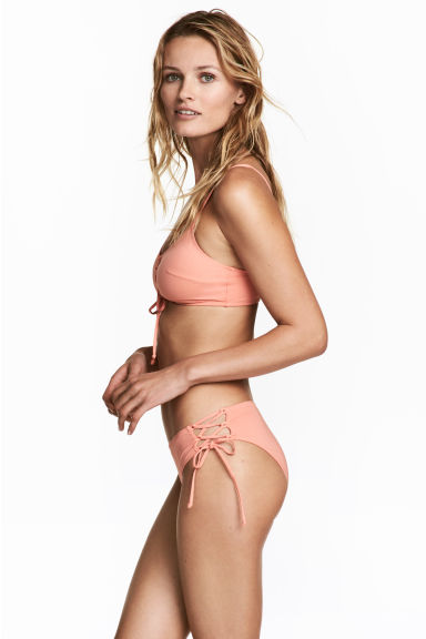 Bikini bottoms with lacing - Apricot - Ladies | H&M