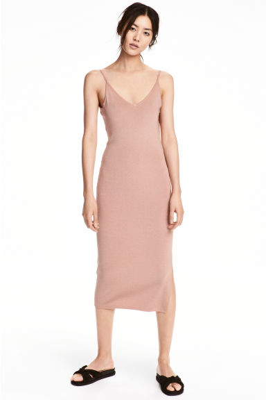Fitted dress - Powder -  | H&M