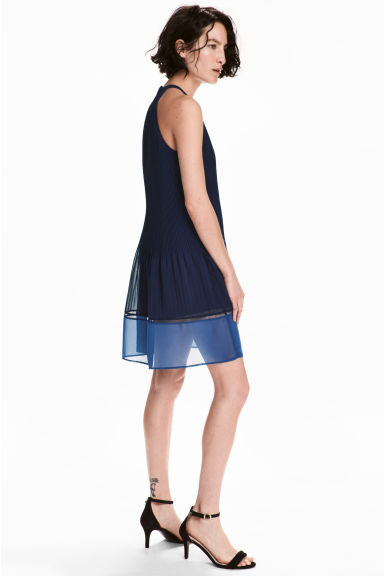 Abito plissettato - Blu scuro -  | H&M IT