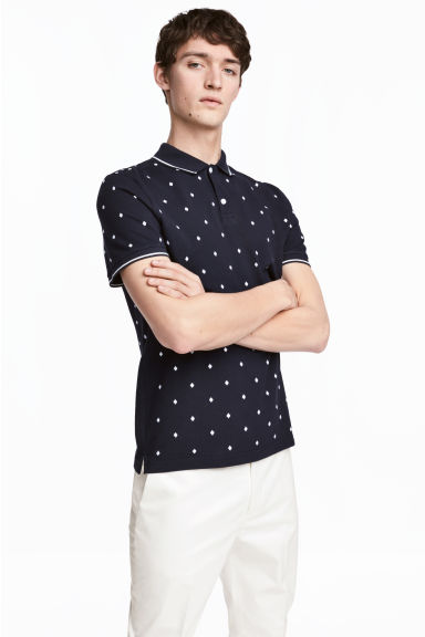 Premium cotton piqué shirt - Dark blue/Patterned -  | H&M