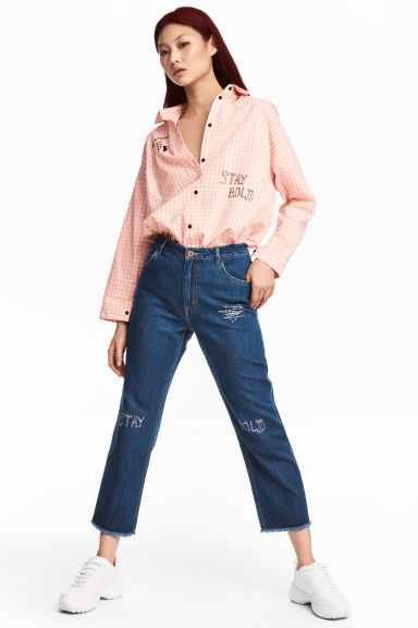 Straight Cropped High Jeans - ダークデニムブルー - Ladies | H&M JP