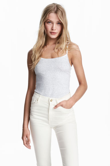 Jersey strappy top - Light grey marl - Ladies | H&M CN