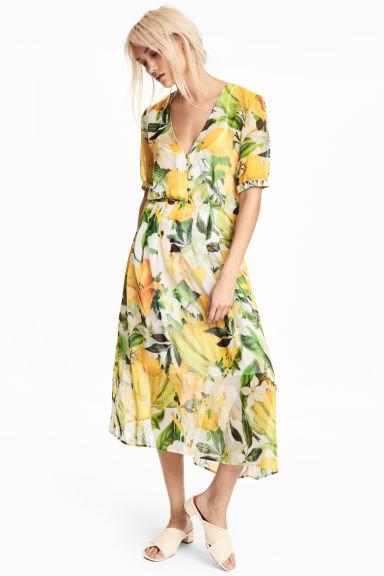 Chiffon dress - White/Yellow patterned - Ladies   H&M GB 1