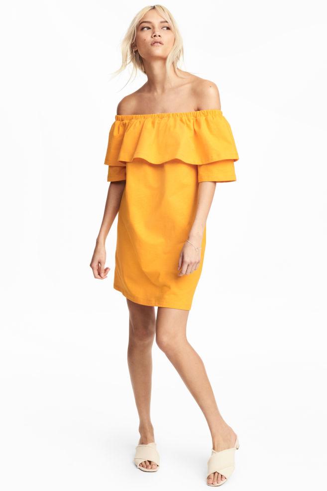 f9f4c501fd2b Off-the-shoulder dress - Orange - Ladies | H&M ...
