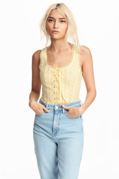 Top avec broderie anglaise - Jaune clair - FEMME | H&M BE
