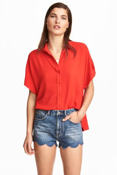 Blouse with dolman sleeves - Red -  | H&M