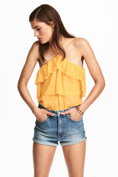 Off-the-shoulder flounced top - Yellow -  | H&M