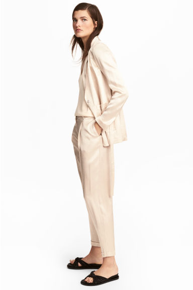 Satin trousers - Light beige - Ladies | H&M GB