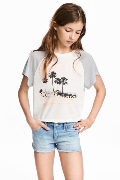 Short-sleeved jersey top - White/California - Kids | H&M CN