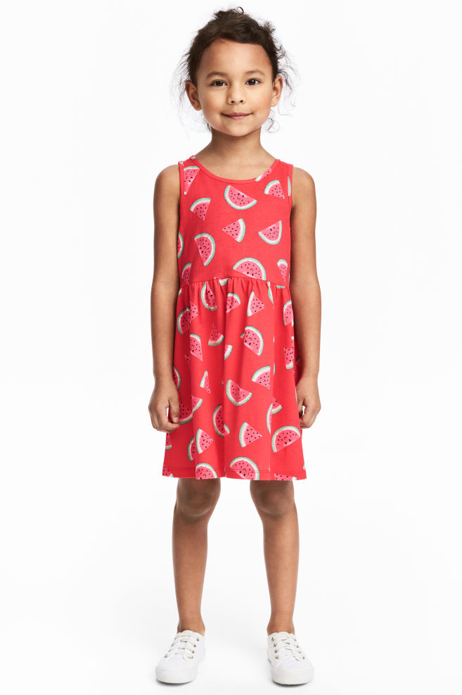 48b3c6f5bc32 Patterned Jersey Dress - Red/Watermelon - Kids   H&M ...