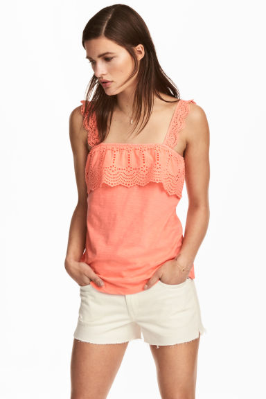 Top with broderie anglaise - Neon coral - Ladies | H&M