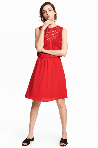 Sleeveless dress - Red - Ladies | H&M GB