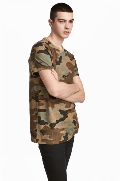 Patterned T-shirt - Khaki/Patterned - Men | H&M