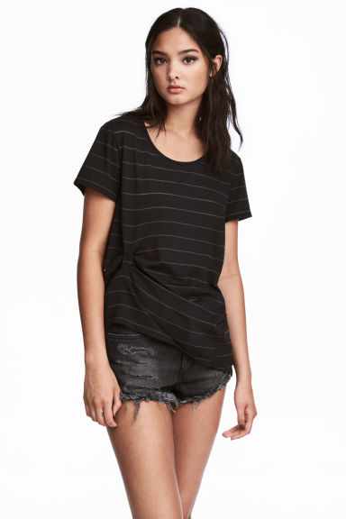 垂墜上衣 - Black/Striped - Ladies | H&M