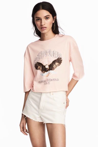 短版上衣 - Powder/Eagle - Ladies | H&M