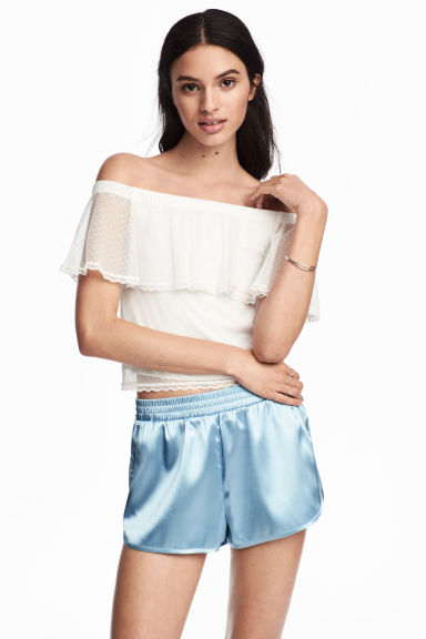 Spotted mesh top - Natural white -  | H&M CN