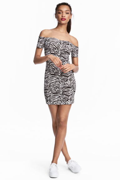 Off-the-shoulder dress - Zebra print - Ladies | H&M