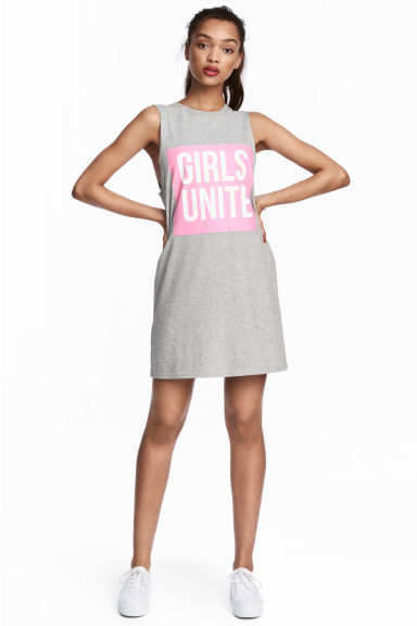 Sleeveless jersey dress - Grey marl -  | H&M