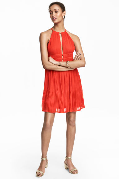 Pleated dress - Red - Ladies | H&M CN